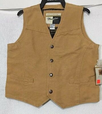 Western Wrangler Outerwear Vest Brown W/Plaid Lining Youth Size Large NWT
