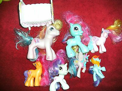 my little pony Figurine LOT 7 Kids Toy Doll Free Bed