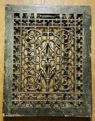"Ornate  Cast Iron  Heating Grate Register Vent  w/Louvers Fits 9 x 12 "" Hole C"