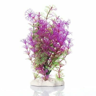5X(Plante Artificielle Aquatique en Plastique Violet-vert Decoration Aquarium WT