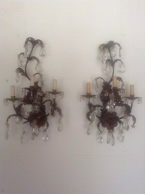c 1890 Old Crystal Prisms Baccarat Gold Gilded Sconces French 19th Century!!!!