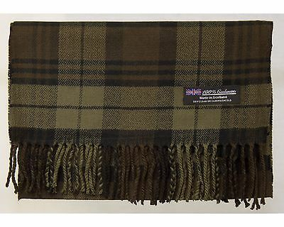 MEN 2PLY 100% Cashmere Scarf Brown Tartan Flannel Check Plaid Scotland Warm Wool