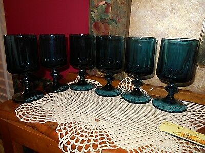 Huge lot 6 Vintage Heavy Glass Footed Blue Green Aqua Glasses Stemware Goblets