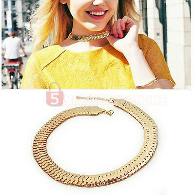 Fashion Punk Style Golden Chunky Curb Alloy Chain Link Bib Choker Necklace New