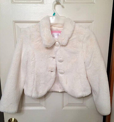 Justice Girls White Faux Fur Winter/Christmas Coat Jacket Size 8/10 Worn Once