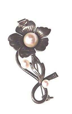Vintage Sterling Silver .925 Pearl Flower Accent Brooch Pin 660643