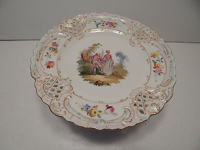 "Carl Thieme Dresden 7 3/8"" Reticulated Compote W/ Hp Watteau Courting Couples!!!"