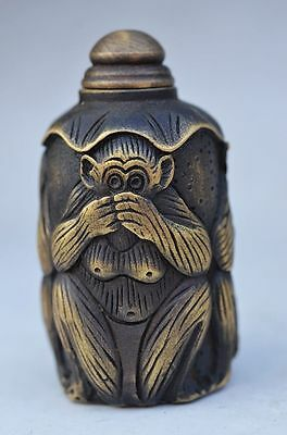 Collectible Chinese Copper Handmade Monkey Snuff Bottle