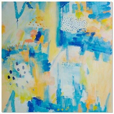 Manor Heart Hand Painted Canvas Wall Art Yellow Blue Abstract Oil Painting
