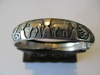 VINTAGE EXOTIC CHINESE MIAO SILVER w/12 LUCKY ZODIAC ETCHINGS BANGLE BRACELET