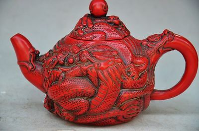 Exquisite Chinese Red Coral Hand Carved Dragon Teapot