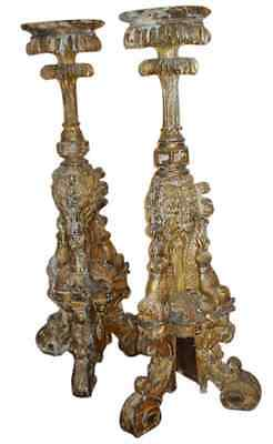 RARE IMPORTANT PAIR 17th CENTURY TORCHERES ITALIAN BAROQUE POLYCHROMED WOOD