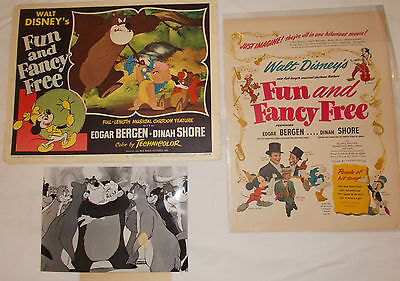Disney's Fun and Fancy Free Original Release Lobby Card plus B/W and Mag Ad