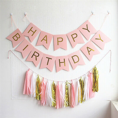 1x Happy Birthday Banner Tassels Gold Foil Pink White Green Black Bunting Party