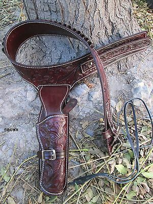 D.A.D CUSTOM LEATHER Cowboy Fully Hand Tooled Western Holster Fast Draw Brown
