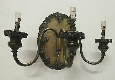Antique (1) Silver Plate Wall Sconce Shefflied 3 arm wall Sconce Grape Pattern