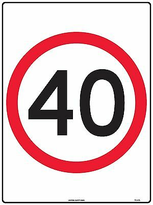 Speed Limit 40kmh Traffic Safety Sign 600x450mm Metal