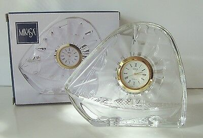 """Mikasa Crystal Glass CLOCK Voyager 4.5"""" Made in Japan Boxed Brand New * REDUCED"""