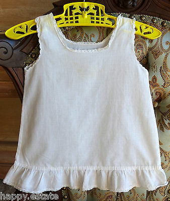 VINTAGE BABY SLIP, COTTON w RUFFLE, 6-12 Months, 1920-30-40S,  DELICATE WHITE