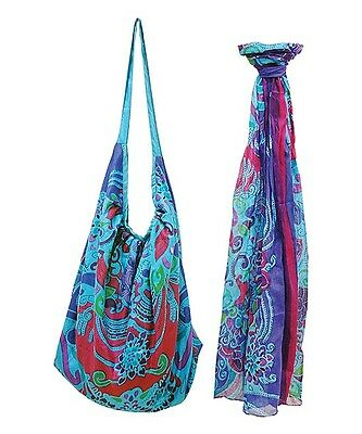 New Women Tropical Blueberry Patchwork Hobo Bag Purse & Matching Scarf