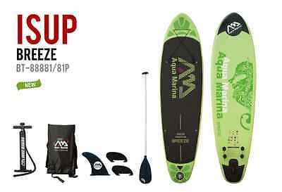 """Aqua Marina Breeze Inflatable SUP 9' 9"""" Stand Up Paddle Board w/ paddle Package"""