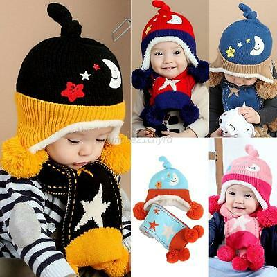 2Pcs Baby Toddler Newborn Boys Girls Kid Warm Wool Hat Cap + Scarf Scarves 6-24M
