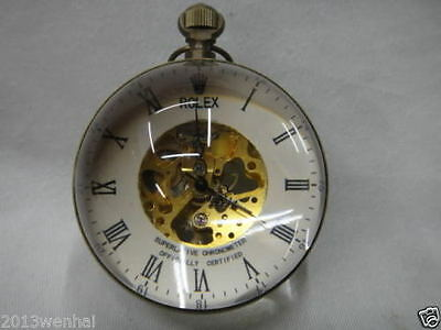 Work CHINESE OLD BRASS GLASS pocket watch BALL clock