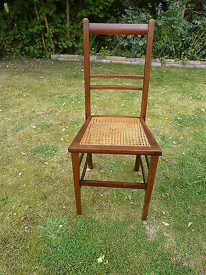 Vintage Mahogany Bedroom Hall Chair Woven Split Cane Inlaid Seat Base #1