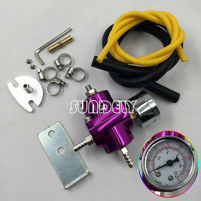 Universal Purple Adjustable Fuel Pressure Regulator 0-140 Psi Gauge + Hose Kit