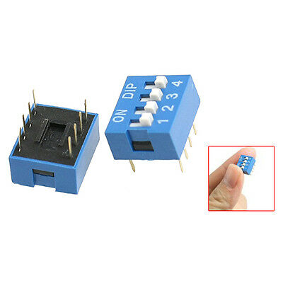 H1 10 Pcs 2 Row 8 Pin 4P Positions 2.54mm Pitch DIP Switch Blue