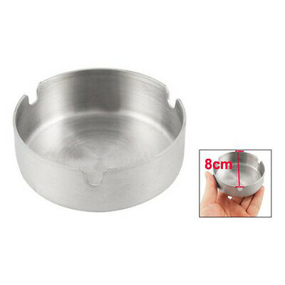 H1 Stainless Steel Round Cigarette Ashtray 8cm Dia Silver Tone