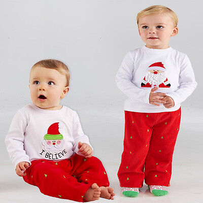 Christmas Toddler Baby Kids Boys Xmas Cotton Nightwear Sleepwear Pajamas Set