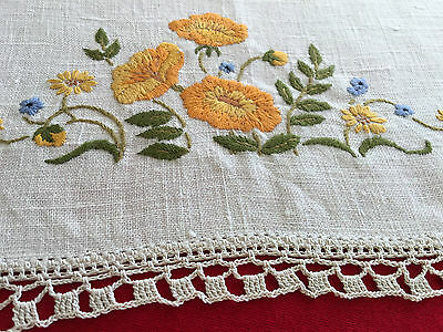 Vintage *Linen *hand Crochet *hand Embroidered *Doily *Bunches of Flowers EC