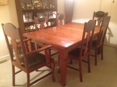 Antique Dining Suite ~ Table, 4 Chairs, 2 Master Carvers. $500 Neg.