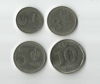 Kyrgyzstan 4 different coins 1,3,5,10 SOM former USSR Russian state