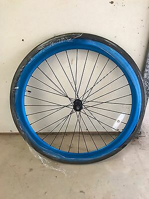 700C 45mm Anodized Blue Single Speed Front Wheel
