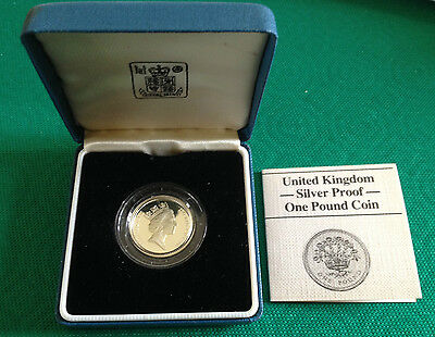 1 Pound 1986 Silver Proof Coin - Flax Plant On Back - 1 Sterlina Uk Argento