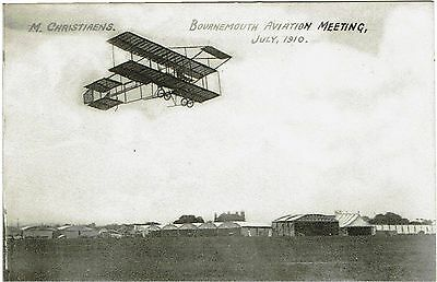 Postcard of Bournemouth Aviation Meeting, July 1910 - M.Christiaens - unused