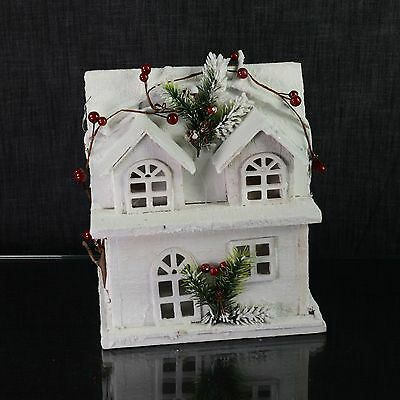 Christmas Church House Figurine Ornament with Lights