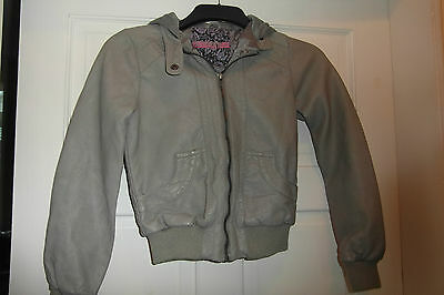 New Look Girls Light Grey Hooded Faux Leather Zip Jacket Age 10-11 Years