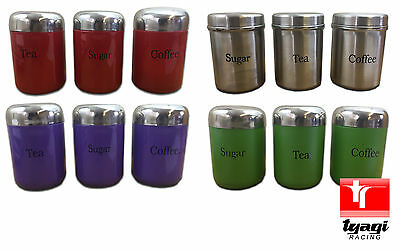 Set of 3 Stainless Steel Tea Coffee Sugar Containers Storage Tins Canisters