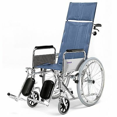 Self Propel Fully Reclining Back folding wheelchair elevated legrests RMA1710