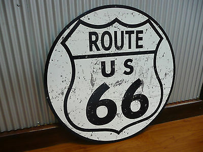 Large Round US Route 66 Metal sign Man cave bar Garage Americas Highway