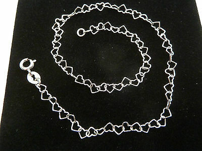 "New 9ct White Gold Heart link 10"" Anklet 2 grams"