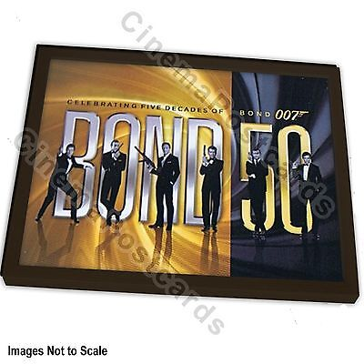 OFFICIAL 50th Year Anniversary 007 6-James Bond Montage Foil Art Print +/- Frame