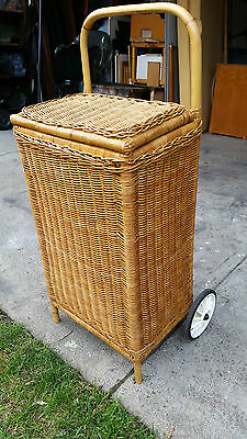 Vintage Cane Trolly Picnic Shopping Trolley With Lid And Two Wheels