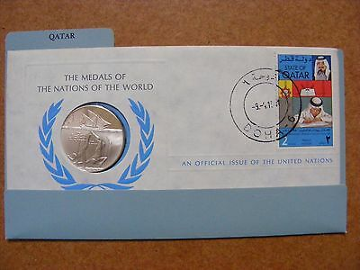 rare QATAR SILVER proof LIMITED EDITION medal & 1st Day Cover UN Islamic Oman