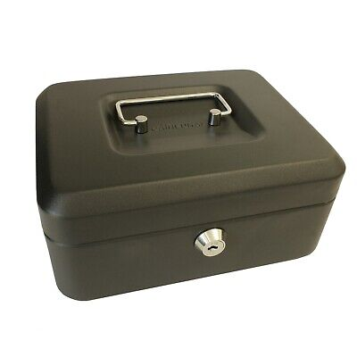Cash Box Money Bank Deposit Steel Tin Security Safe Petty Cash Key Lockable