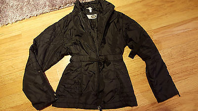 Girls age 9-10 year coat black quilted zip buckle details C&A Here & There