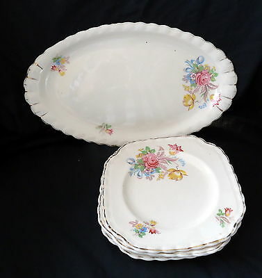 J & G Meakin Sandwich Plate With 3 Sideplates With A Floral Bouquet Design.